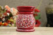 Handcrafted Ceramic Floral Carving Aroma Oil Burner Oil Diffuser In Red Color