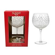 2 Boxed Gin Cocktail Glass Hand Decorated Embossed Snowflakes Christmas Present