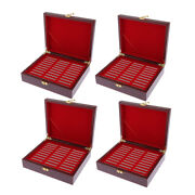 4x Coin Cases Storage Box For 30 Grids Coin 46mm Holder Wooden Collection Box