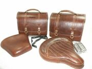 Antique Brown Leather Saddle Bag And Front Rear Seat For Royal Enfield 350@usg