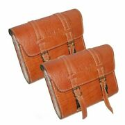Embossed Tan Leather Side Saddle Luggage Bags 2 For Royal Enfield Universal@usg