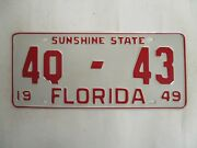 1949 Florida First Issue Antique Q License Plate Tag