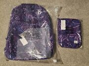 New Vera Bradley Essential Large Quilted Backpack Lunch Bag Amethyst Paisley Set