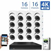 16 Channel 4k Nvr 16 8mp 2160p Home Ip Poe Dome Security Camera System 4tb Hdd