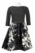 Taylor Fit And Flare Scuba Dress Petite 6p Black Ivory Striped Floral Nwt 138