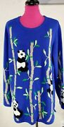 The Quacker Factory Nwt Rare Panda's In Bamboo Tree Embroidered Blue Sweater Xl