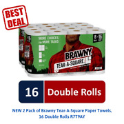 New 2 Pack Of Brawny Tear-a-square Paper Towels, 16 Double Rolls R7t9ay