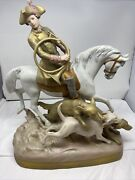 Royal Dux Huntsman Hunter On Horse With Dogs Large Figure 12227