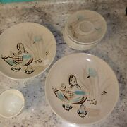 13 Pieces Rare Htf Vintage Red Wing Dishes Dinner Plates Cup Saucers