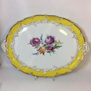 Antique Meissen Oval Giant Plate Hand Painted Relief Elements Gold 23k Rococo