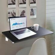 Wall Mount Floating Folding Computer Desk Home Office Pc Table Furniture Black