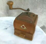 Vintage Wood Wooden Coffee Mill / Grinder Spice By Deve De Ve Made In Holland