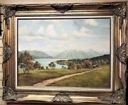 Vintage 1950's Painting Of Alpine City And Mountains By Meyer, Munich, Germany