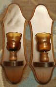 Vtg Home Interior Amber Votive Cup Glass Candle Sconce Wood Wall Set