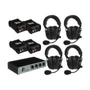 Portacom Com-40fc Four Dual Headset 2-ch Wired Intercom Package Without Cables