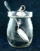 Vintage 3 9/10 Glass Sugar Bowl And Sterling Silver Lid And 5 3/4 Inch Spoon As55