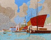 Shipping Along The Molo In Venice 16 X 20 Acrylic On Board By Michael Byro