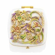Jay Strongwater Joslyn Flower And Vine Compact Mirror 18k Scb8075-281