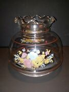 Gwtw Pink Yellow And Blue Floral Design Hurricane Glass Lamp Replacement Shade