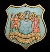 State Of New Jersey Cast Iron Crest Plaque Old Paint Nice Detail Throughout