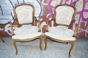 Vintage Pair Chateau D'ax French Provincial Needlepoint Accent Arm Chairs Italy