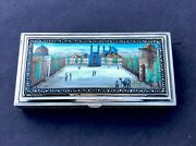 Stunning Vintage Solid Silver And Enamel 6 Cigarette Box Imam Square Isfahan 393g