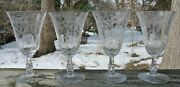 4 Cambridge Glass Daffodil Clear Needle Etch Ice Tea Glasses One Has A Chip