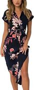 Ecowish Womens Dresses Summer Casual V-neck Floral Print Geometric Pattern Belte