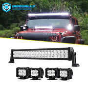 22inch 280w Led Work Light Bar + 4 18w Pods Combo 4x4wd For Jeep Ford Atv Truck