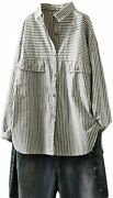 Minibee Womenand039s Stripes Tunic Shirt Long Sleeve Shirt Button Front Blouse With P