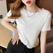 Womenand039s New Ice Silk Short-sleeved T-shirt Ladies Summer Slim Fit