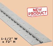 1-1/2 X 72 Piano Hinge Steel Finish Continuous Full Surface Nonremovable Pin
