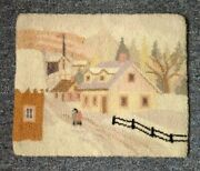 2 Vintage Canadian Hooked Rug Prominent Quaker/uel Family On Winter Scene