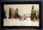 Vintage Canadian Hooked Rug Prominent Quaker/uel Family On Winter Sleigh Scene