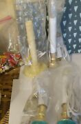 Vtg White Plastic Christmas Candlestick Candle Lights Clear Bulb Extra Bulbs Lot