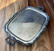"""Antique Silverplate Butler Tray Epca Old English By Poole 32"""" W/feet And Handles"""