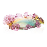Daum Green And Pink Bowl Rose Passion 05314 France