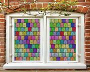 3d Color Square A027 Window Film Print Sticker Cling Stained Glass Uv Zoe
