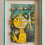 Used James Rizzi Mister Fish Frame 3d Art Signed 1997 305 Mm From Japan