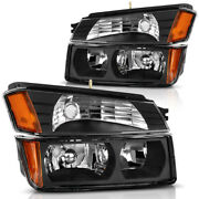For 2002-2006 Chevy Avalanche Body Cladding Signal Bumper Headlights Lamps Black