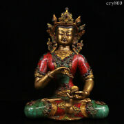 Tibet Jokhang Temple Old Antique Pure Copper Inlaid With Gems Vajrasana Statue