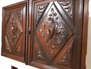 Pair Scroll Blazon Panel Cabinet Door Antique French Carving Salvaged Furniture