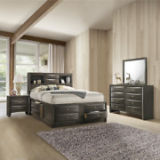 New Gray Storage Queen King Bedroom Set Contemporary Modern Furniture Bed/d/m/n