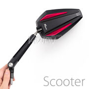 Mirrors Achilles Black + Red 8mm 1.25 Pitch Fits Scooter Moped 50cc 90cc 150cc