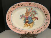 New Cute Easter Bunny Large Oval Platter By Susan Winget Certified International