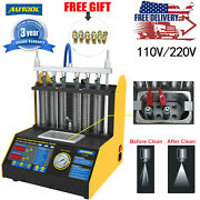 Car Motor 6cylinder Ultrasonic Fuel Injector Cleaner Tester Machine+6p Connector