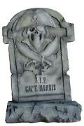 3.5and039 Gray Captain Pirate Tombstone Resin Statue Halloween Prop Display