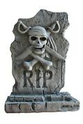 3.5and039 Gray First Mate Pirate Tombstone Resin Statue Halloween Prop Display