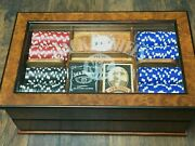 Jack Daniels Clay Poker Chip Set And Glass Display Case