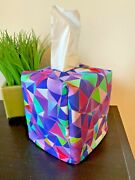 New Tissue Box Cover - Stain Glass Fabric Rainbow Theme - Bedroom Home Decor